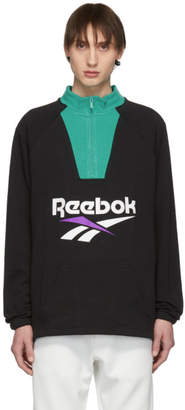 Reebok Classics Black and Green Half-Zip Pullover
