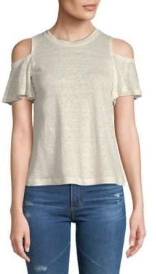 Rebecca Taylor Cold-Shoulder Linen Jersey Top