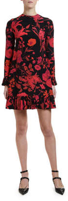 Valentino Long-Sleeve Crinkle Pleated-Cuff Dress