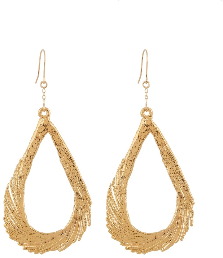 Aurelie Bidermann AURÉLIE BIDERMANN Swan feather yellow-gold earrings