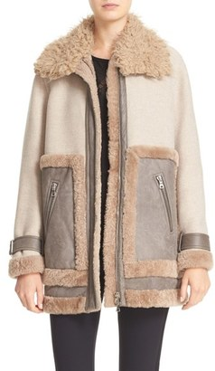 Women's Rebecca Taylor Genuine & Faux Shearling Mixed Media Coat $1,325 thestylecure.com
