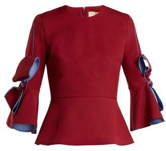 Roksanda Kemi Crepe Bow Sleeve Blouse - Womens - Burgundy Multi