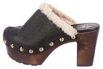 Giuseppe Zanotti Leather Shearling-Trimmed Clogs