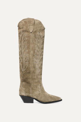 Isabel Marant Denzy Embroidered Suede Knee Boots - Beige