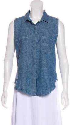 Frame Chambray Sleeveless Button-Up Top
