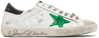Golden Goose White and Green Love Dealer Superstar Sneakers