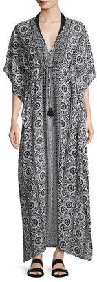 Tommy Bahama Geo Relief Maxi Caftan Coverup, Black $138 thestylecure.com