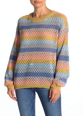 Woven Heart Circle Knit Striped Sweater