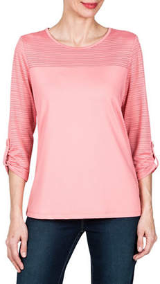 Haggar Petite Mesh Stripe Boat Neck Top
