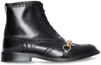 Burberry Link and Brogue Detail Leather Boots