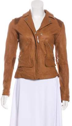 Doma Zip-Up Leather Jacket w/ Tags