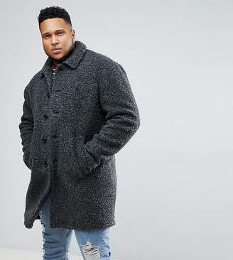 Asos Plus Borg Overcoat In Charcoal