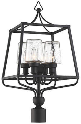 Crystorama Sylvan Outdoor Seeded Post Lamp - Black Forged