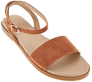 Halston H by Suede Sandals with Ankle Strap -Chase