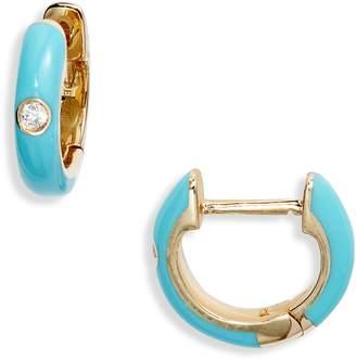 Ef Collection Enamel Diamond Huggie Earrings