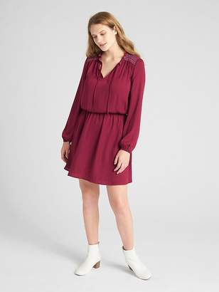 Gap Long Sleeve Embroidered Smock Dress
