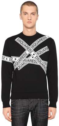 DSQUARED2 Logo Tape Cotton Jersey Sweatshirt