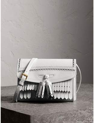 Burberry Brogue and Fringe Detail Leather Crossbody Bag