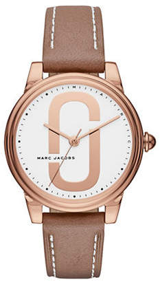 Marc Jacobs Corie Rose Goldtone Leather Strap Watch