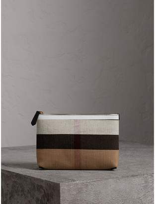 Burberry Medium Check Canvas and Leather Zip Pouch