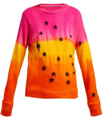 The Elder Statesman Star Jacquard Tie Dye Cashmere Sweater - Womens - Orange Multi