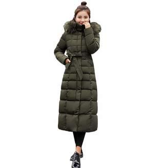 PENATE Women's Down Jackets PENATE Women's Slim Down Jacket Girls Winter Warm Long Plush Hooded Cotton Coat