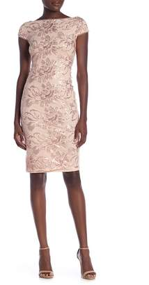 Marina Sequin Embroidered Sheath Dress