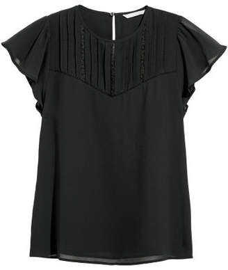 H&M Blouse with Pin-tucks - Black