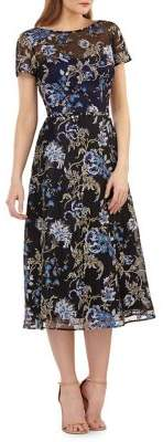 Carmen Marc Valvo Floral-Embroidered Tea-Length Dress