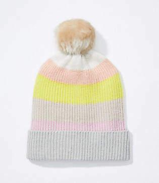 LOFT Striped Faux Fur Pom Pom Hat