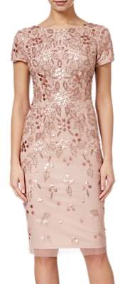Adrianna Papell Floral Beaded Short Dress, Rose Gold