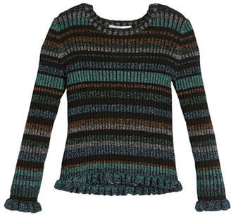 Milly Minis Rib-Knit Lurex Stripe Sweater, Size 8-14