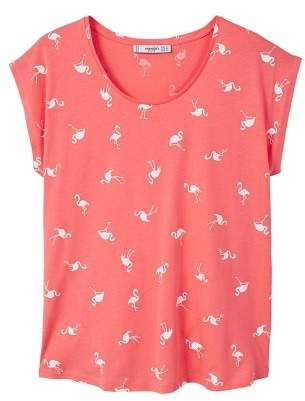 MANGO Printed cotton-blend t-shirt