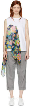 MSGM White Floral Scarf Tank Top