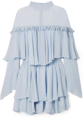 Caroline Constas Tessa Tiered Ruffled Silk-chiffon Mini Dress - Sky blue