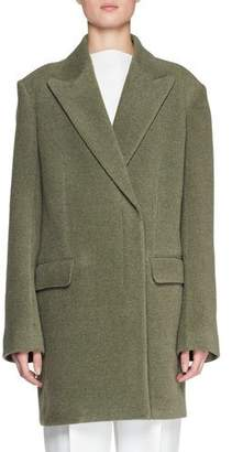The Row Mewey Peak-Lapel Button-Front Wool-Blend Coat