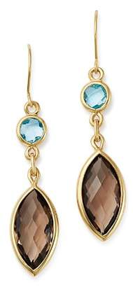 Bloomingdale's Smoky Quartz & Blue Topaz Drop Earrings in 14K Yellow Gold - 100% Exclusive