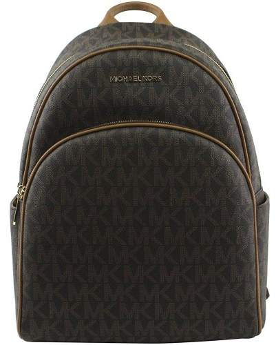 Michael Kors Abbey Jet Set Large Leather Backpack (Brown) - BROWN - STYLE