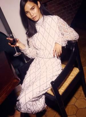 Miss Selfridge White embellished funnel neck blouse