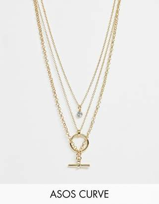 Asos DESIGN Curve multirow necklace with minimal open circle and toggle pendants in gold