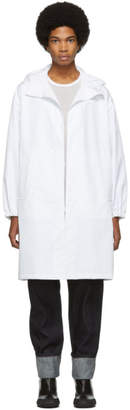 Helmut Lang White Recycled Hooded Raincoat