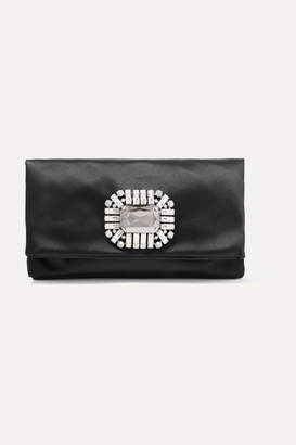 Jimmy Choo Tatiania Crystal-embellished Satin Clutch - Black