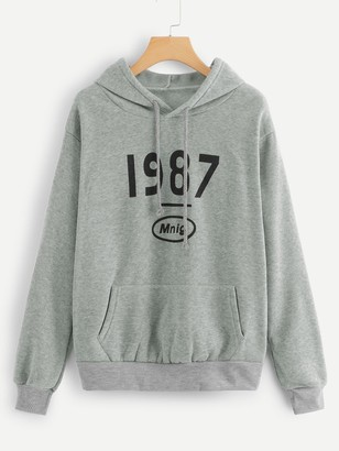 Shein Letter Graphic Drawstring Hoodie