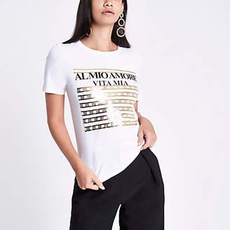 River Island White gold foil front print T-shirt
