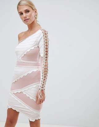Forever Unique One-Shoulder Lace-Up Bandage Dress