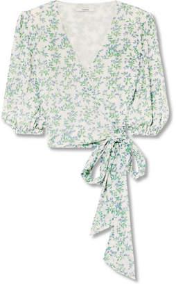 Ganni Tilden Cropped Floral-print Mesh Wrap Top - Off-white