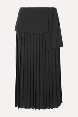 Victoria Victoria Beckham Victoria, Victoria Beckham - Asymmetric Pleated Crepe Midi Skirt - Black