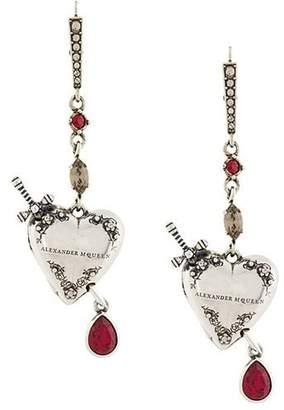 Alexander McQueen heart and dagger drop earrings
