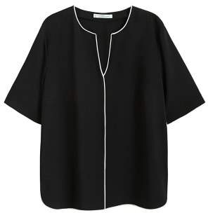 White Blouse With Black Trim - ShopStyle f3dd77f91
