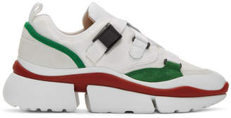 Chloé White and Green Sonnie Sneakers